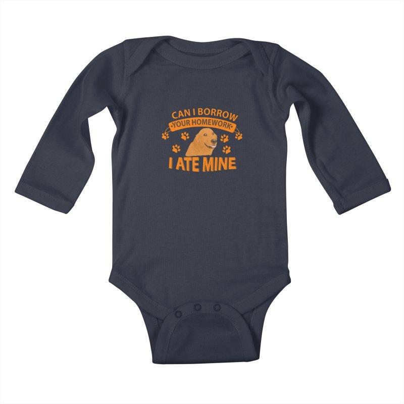 Homework snacking Kids Baby Longsleeve Bodysuit by Mini Moo Moo Clothing Company