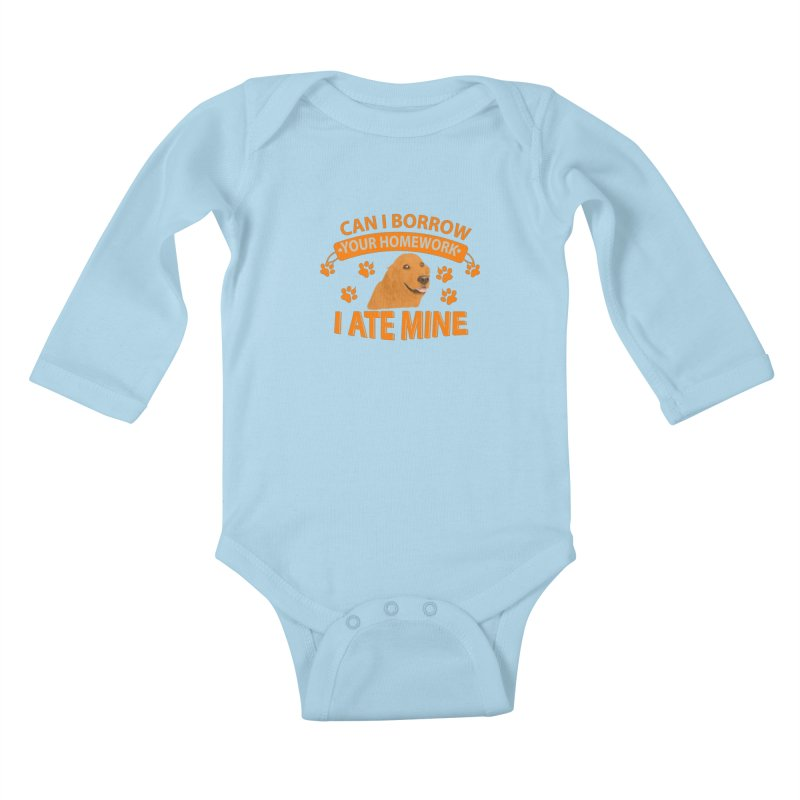 Homework snacking Kids Baby Longsleeve Bodysuit by Mini Moo Moo Clothing Company