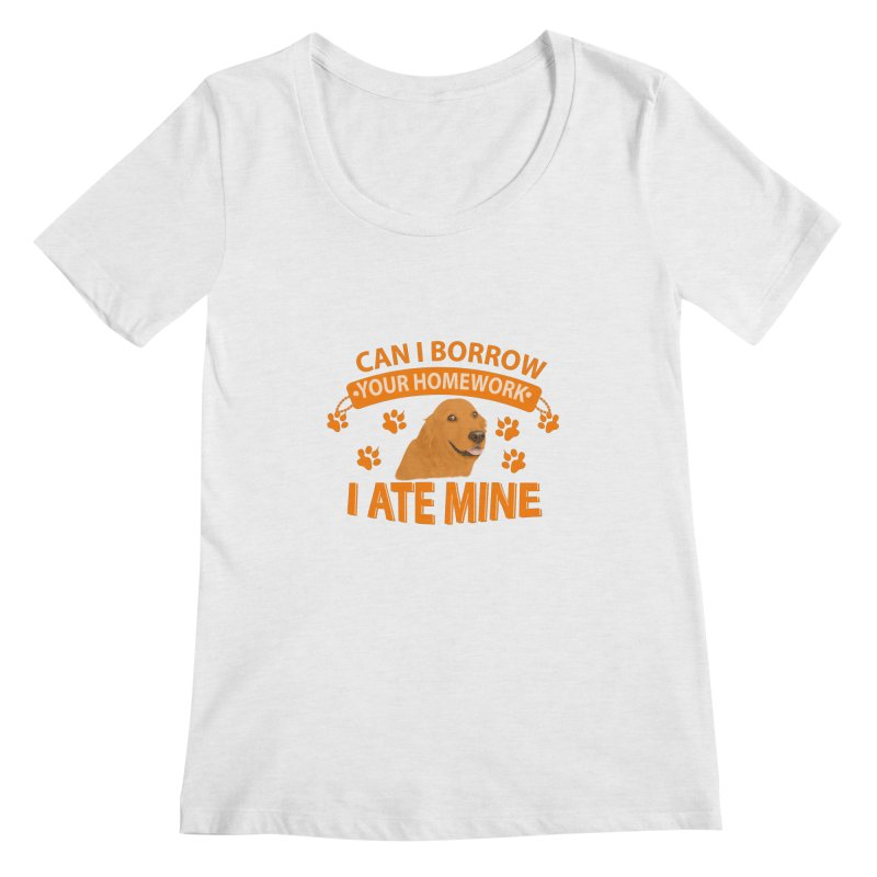 Homework snacking Women's Scoop Neck by Mini Moo Moo Clothing Company