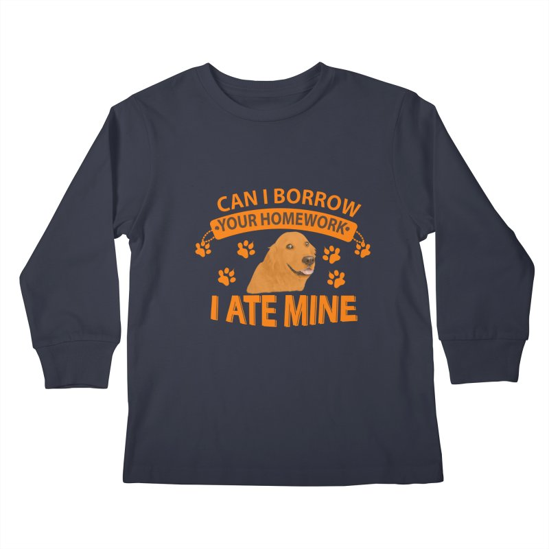 Homework snacking Kids Longsleeve T-Shirt by Mini Moo Moo Clothing Company