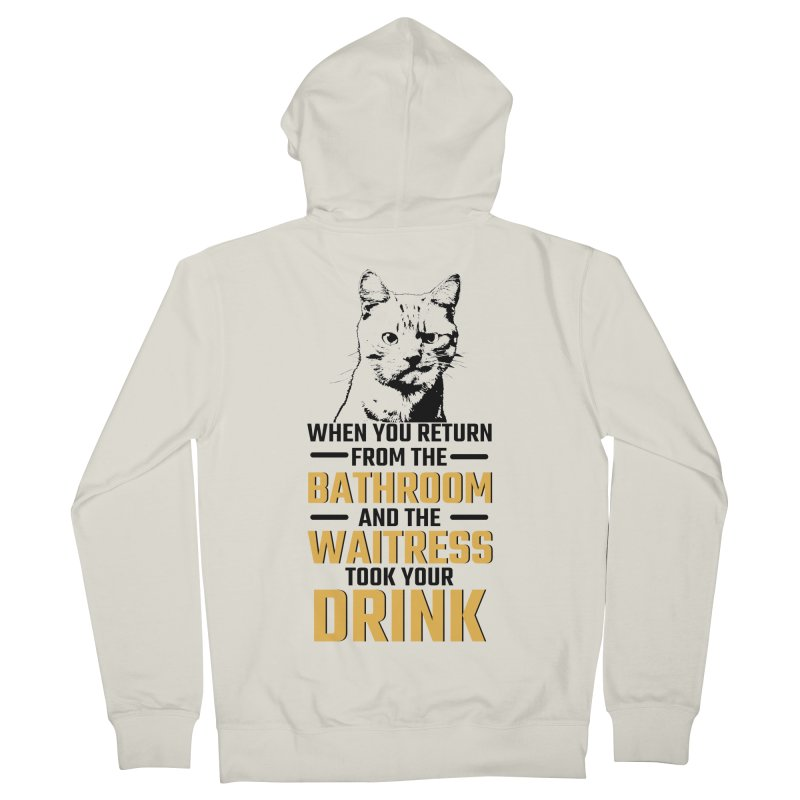 Wheres my Drink Men's French Terry Zip-Up Hoody by Mini Moo Moo Clothing Company