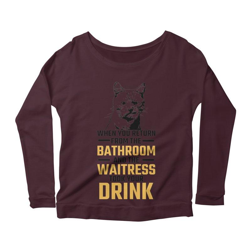 Wheres my Drink Women's Longsleeve Scoopneck  by Mini Moo Moo Clothing Company
