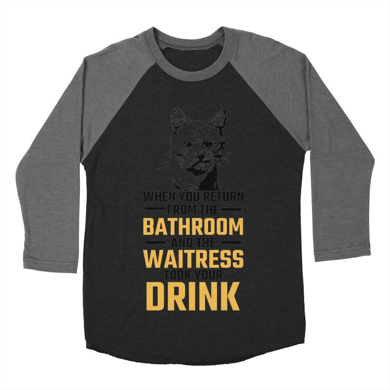 Wheres my Drink Men's Baseball Triblend T-Shirt by Mini Moo Moo Clothing Company