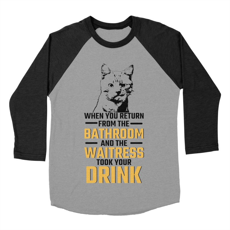 Wheres my Drink Men's Baseball Triblend T-Shirt by Mini Moo Moo Clothing Company