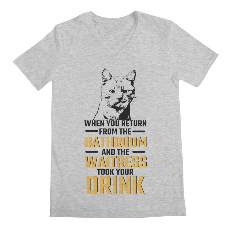 Wheres my Drink Men's Regular V-Neck by Mini Moo Moo Clothing Company