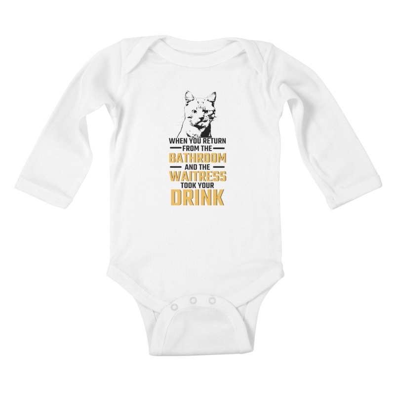 Wheres my Drink Kids Baby Longsleeve Bodysuit by Mini Moo Moo Clothing Company