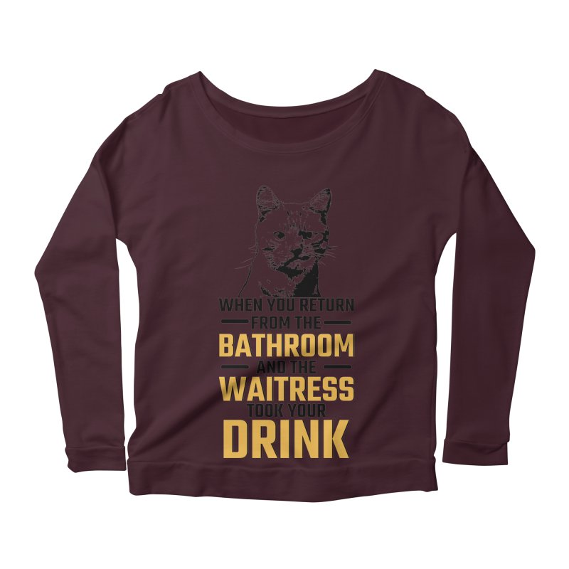 Wheres my Drink Women's Scoop Neck Longsleeve T-Shirt by Mini Moo Moo Clothing Company