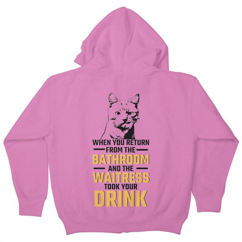 Wheres my Drink Kids Zip-Up Hoody by Mini Moo Moo Clothing Company