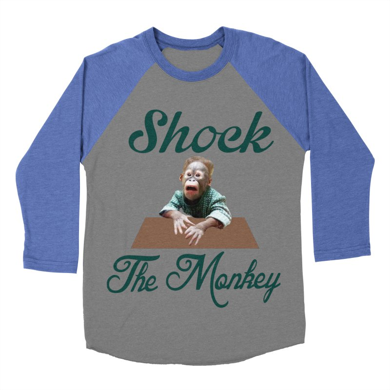 Shocking the  Monkey Men's Baseball Triblend T-Shirt by Mini Moo Moo Clothing Company