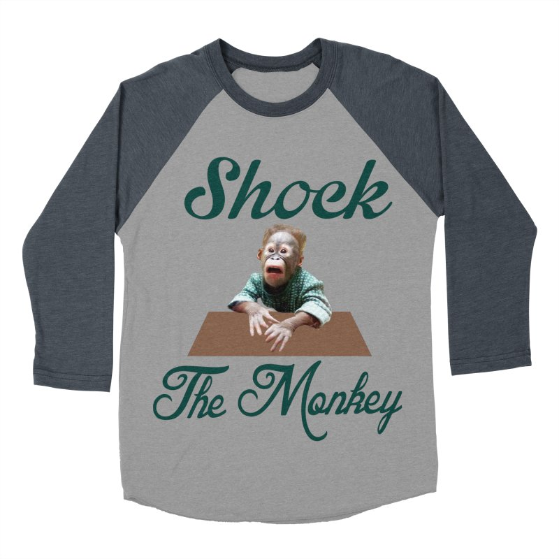 Shocking the  Monkey Men's Baseball Triblend Longsleeve T-Shirt by Mini Moo Moo Clothing Company