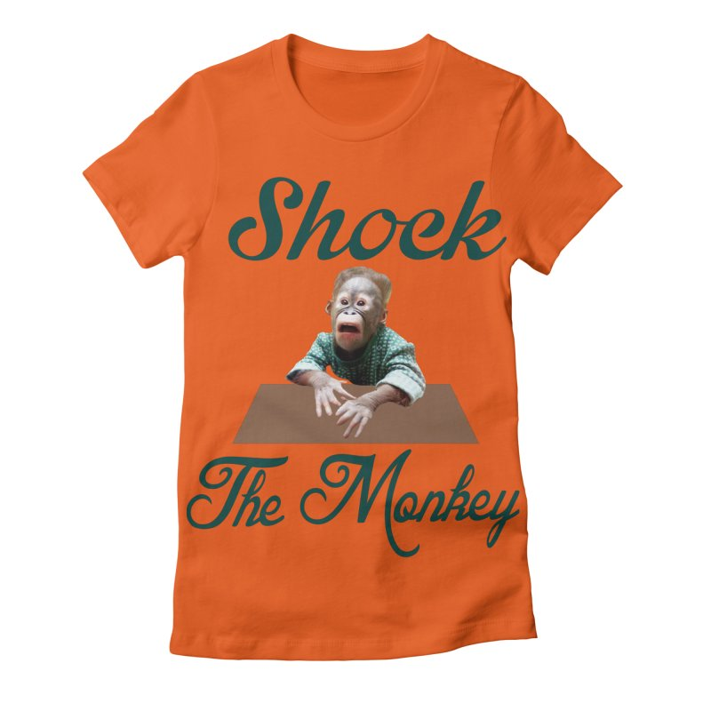 Shocking the  Monkey Women's Fitted T-Shirt by Mini Moo Moo Clothing Company