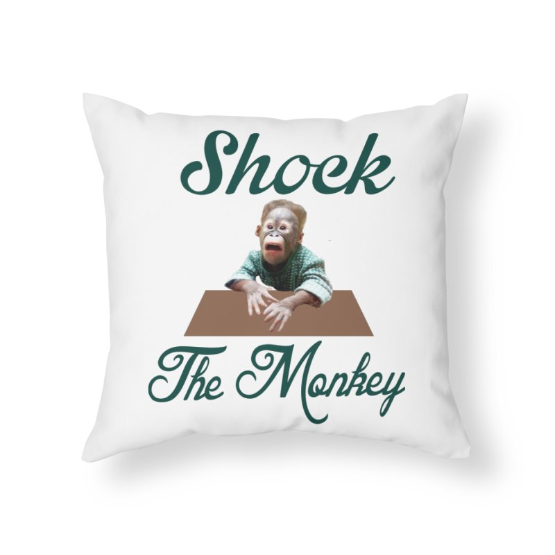 Shocking the  Monkey Home Throw Pillow by Mini Moo Moo Clothing Company
