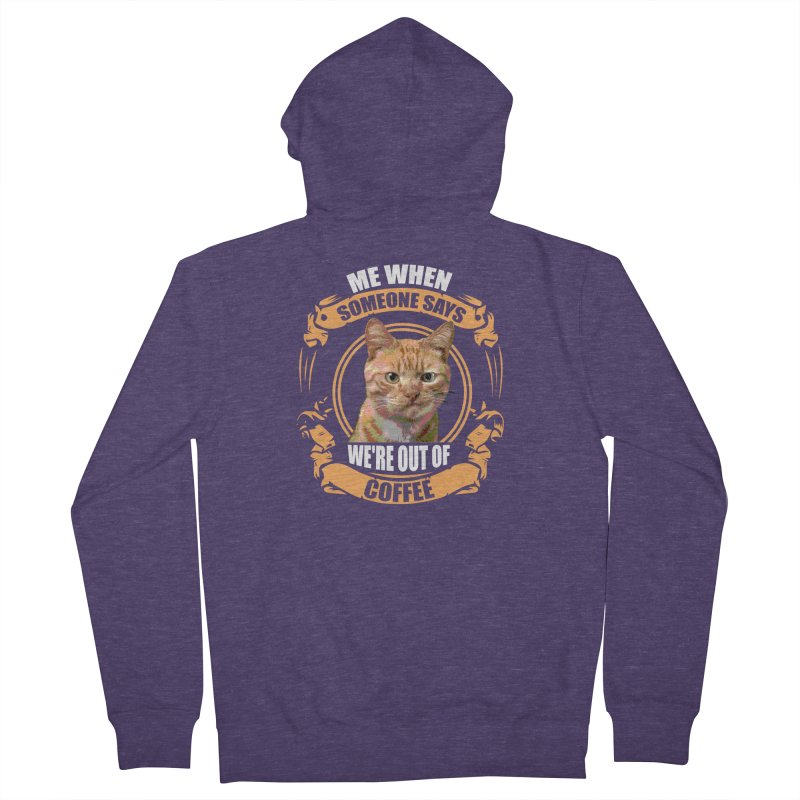 What no coffee Men's French Terry Zip-Up Hoody by Mini Moo Moo Clothing Company