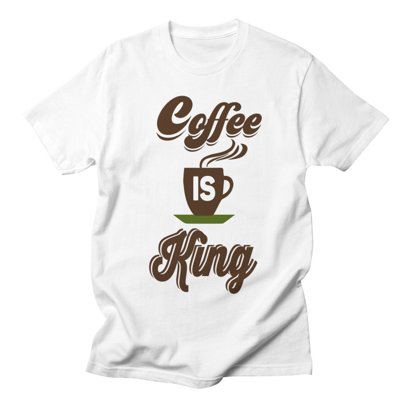 Coffee is King in Men's Regular T-Shirt White by Mini Moo Moo Clothing Company