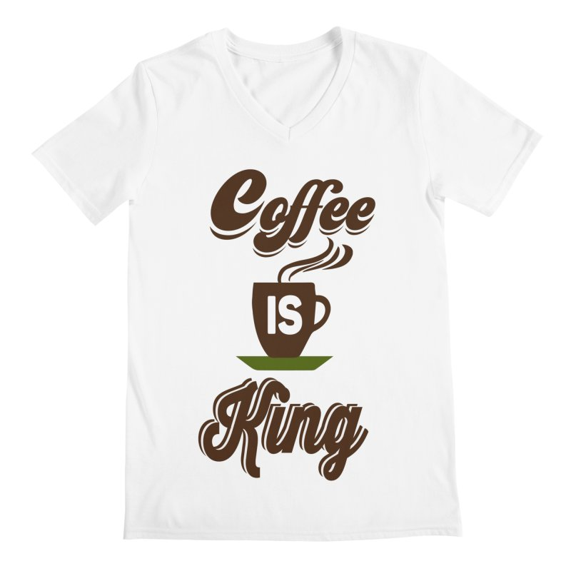 Coffee is King Men's V-Neck by Mini Moo Moo Clothing Company