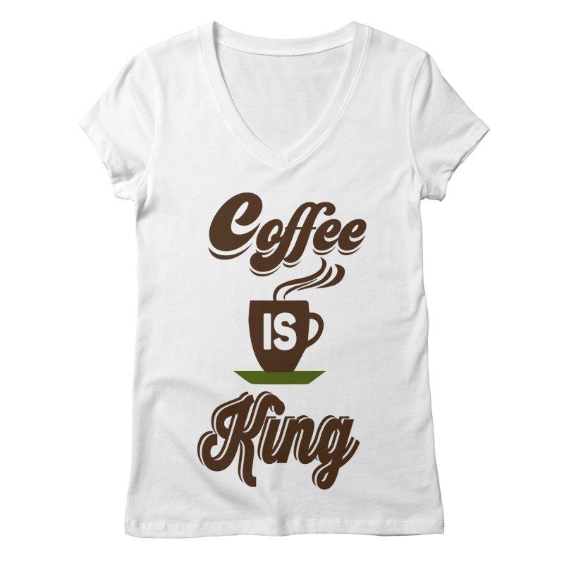 Coffee is King Women's V-Neck by Mini Moo Moo Clothing Company