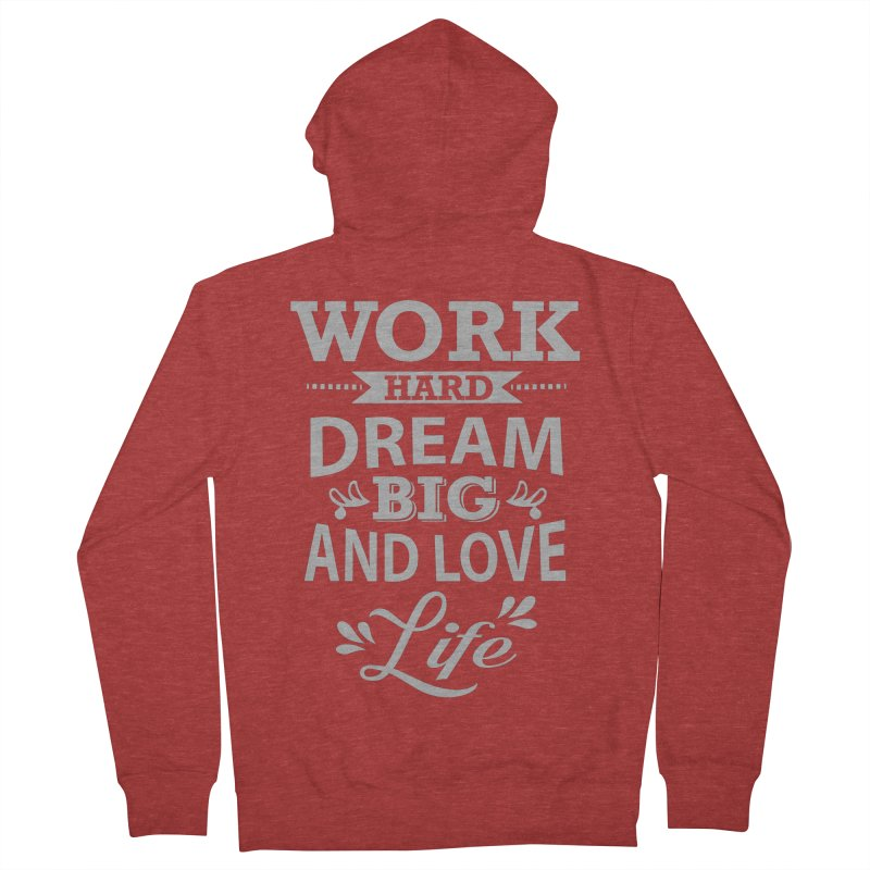 Work Dream Love Men's Zip-Up Hoody by Mini Moo Moo Clothing Company