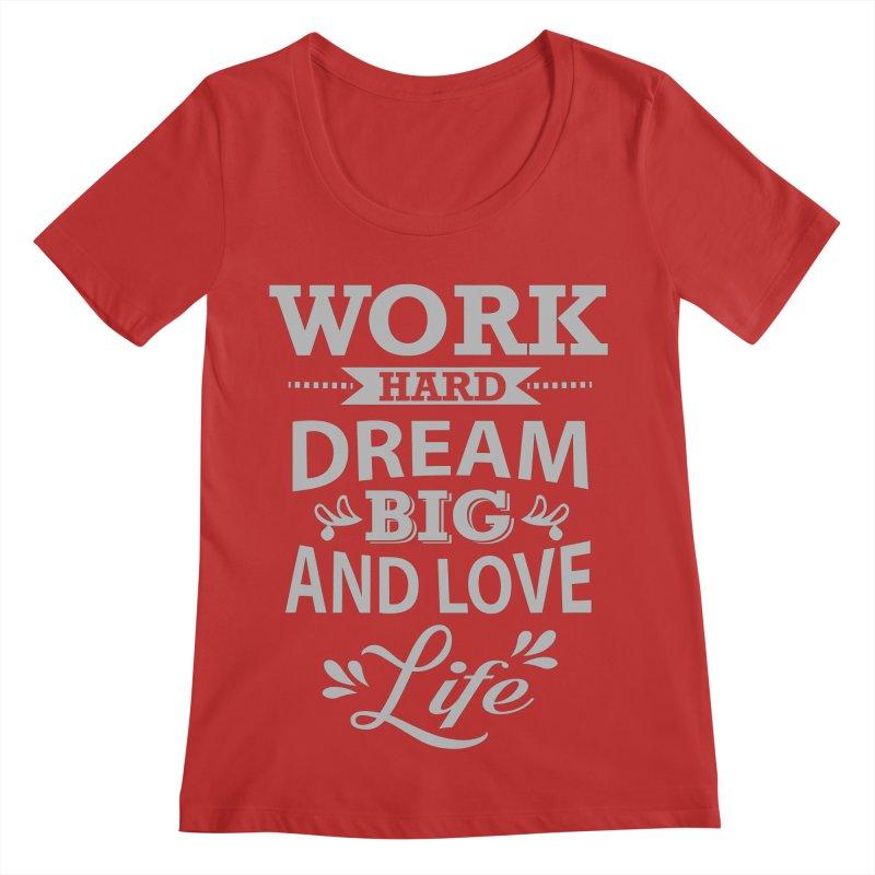 Work Dream Love Women's Regular Scoop Neck by Mini Moo Moo Clothing Company