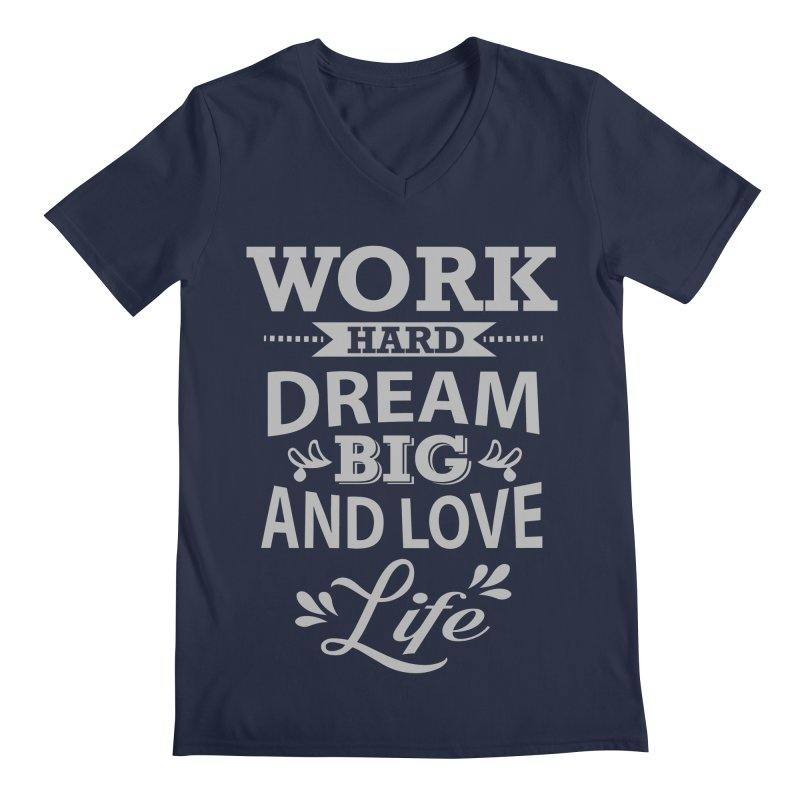 Work Dream Love Men's Regular V-Neck by Mini Moo Moo Clothing Company