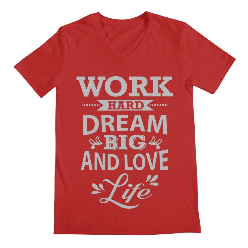 Work Dream Love Men's V-Neck by Mini Moo Moo Clothing Company