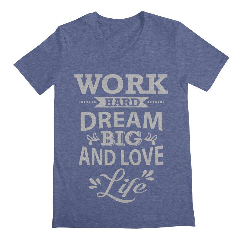 Work Dream Love Men's Regular V-Neck by Mini Moo Moo Clothing Company