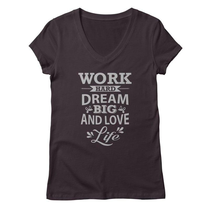 Work Dream Love Women's V-Neck by Mini Moo Moo Clothing Company
