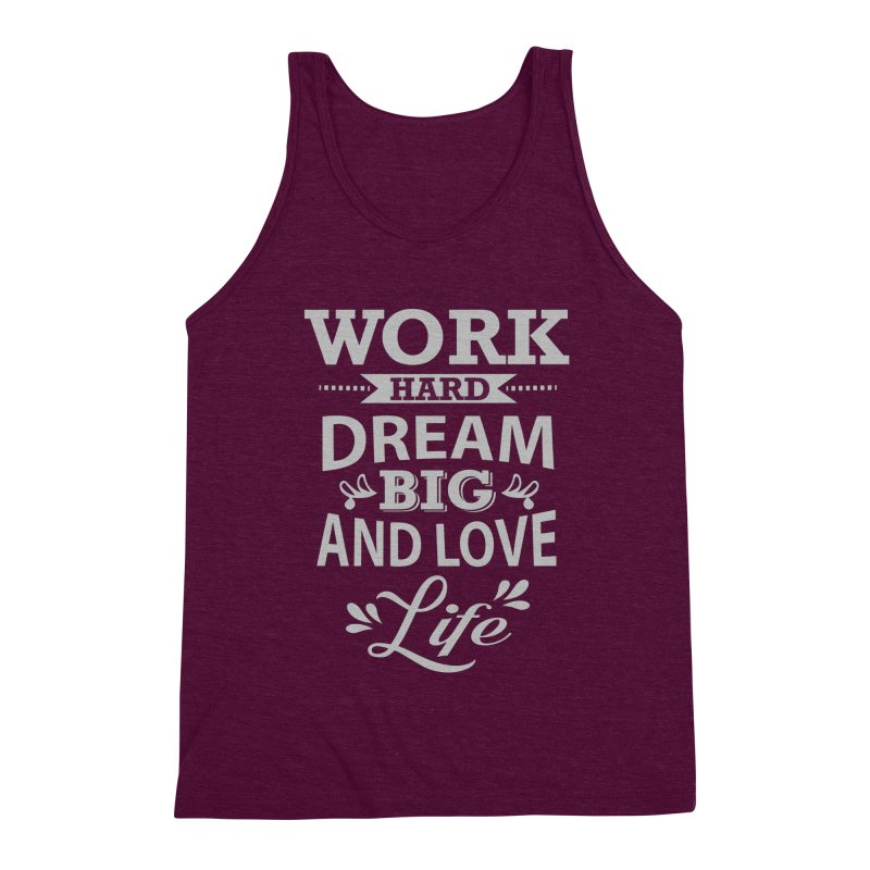 Work Dream Love Men's Triblend Tank by Mini Moo Moo Clothing Company