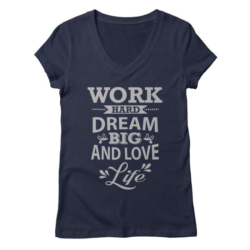 Work Dream Love Women's Regular V-Neck by Mini Moo Moo Clothing Company