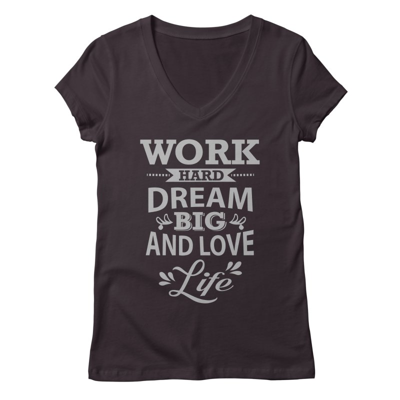 Work Dream Love in Women's V-Neck Plum by Mini Moo Moo Clothing Company