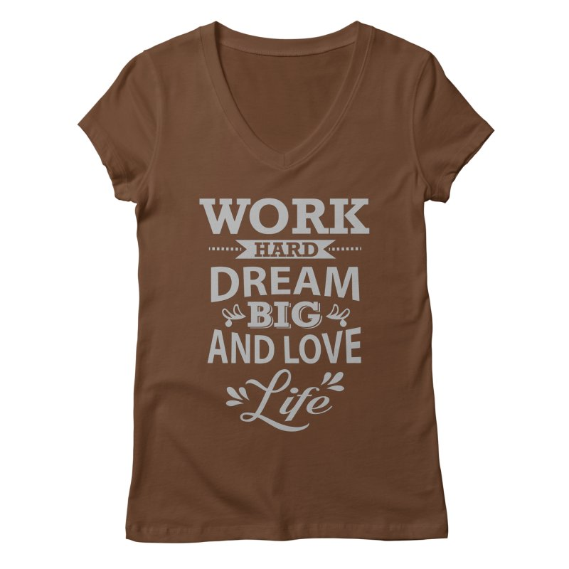 Work Dream Love Women's V-Neck by Mini Moo Moo Clothing Company