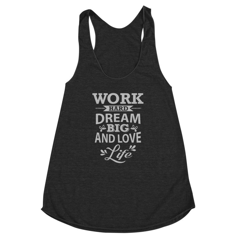 Work Dream Love Women's Racerback Triblend Tank by Mini Moo Moo Clothing Company