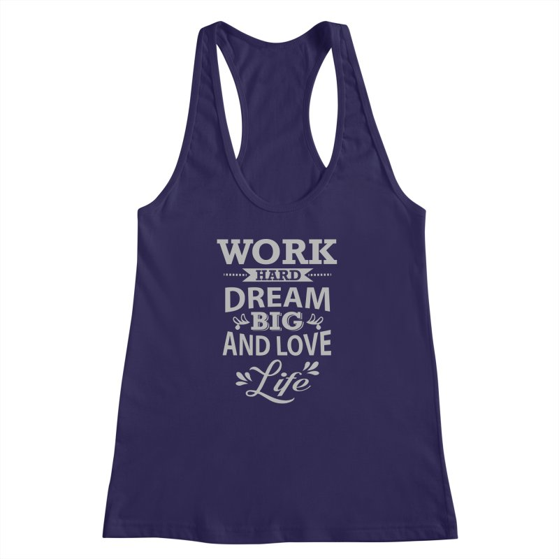 Work Dream Love Women's Racerback Tank by Mini Moo Moo Clothing Company