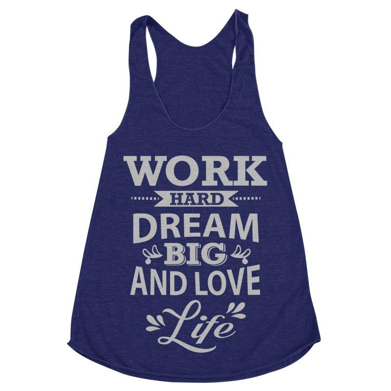 Work Dream Love Women's Racerback Triblend Tank by Mini Moo Moo Clothing Company