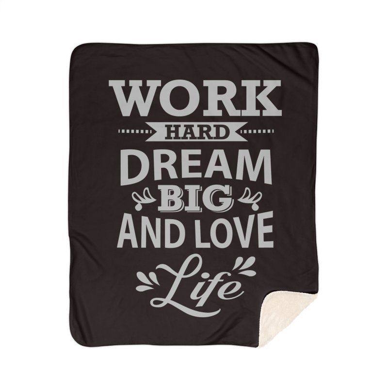 Work Dream Love Home Sherpa Blanket Blanket by Mini Moo Moo Clothing Company