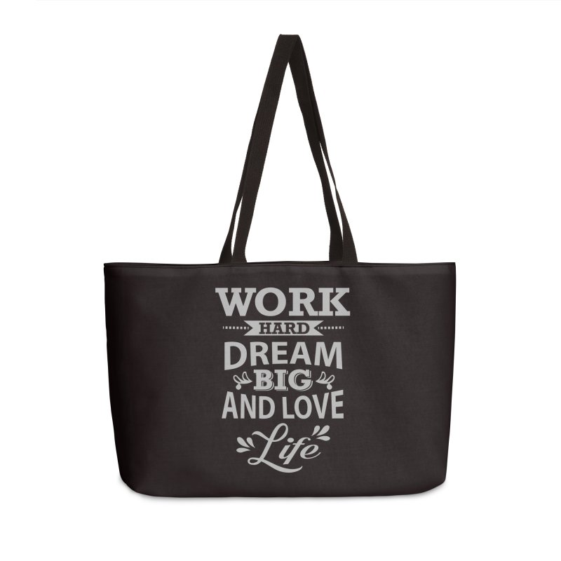 Work Dream Love Accessories Weekender Bag Bag by Mini Moo Moo Clothing Company