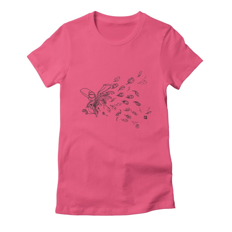 how to fly of all of his feathers? Women's Fitted T-Shirt by minoo.nadafian's Artist Shop