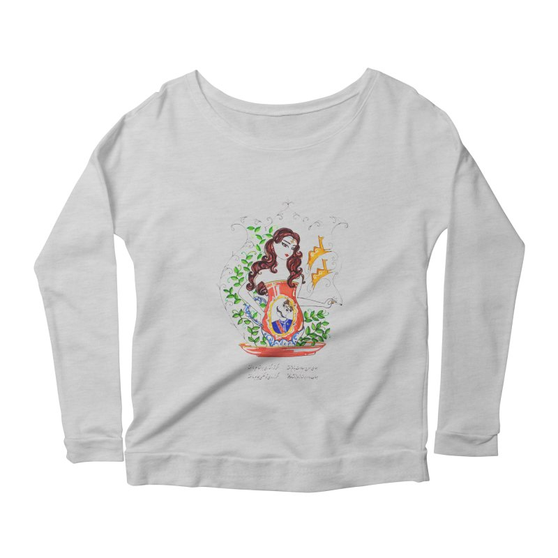 contemporary oriental girl Women's Longsleeve Scoopneck  by minoo.nadafian's Artist Shop