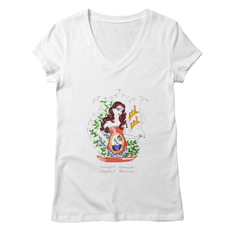 contemporary oriental girl Women's V-Neck by minoo.nadafian's Artist Shop