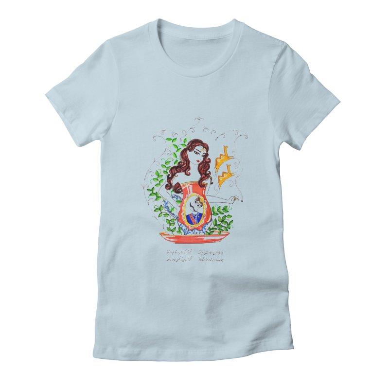 contemporary oriental girl Women's Fitted T-Shirt by minoo.nadafian's Artist Shop