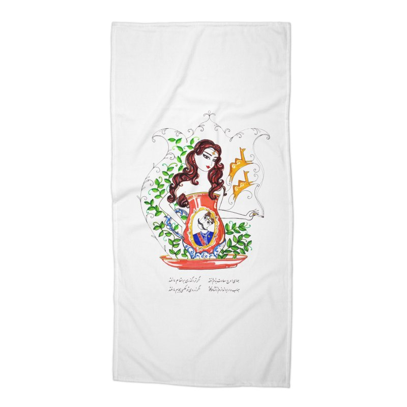 contemporary oriental girl Accessories Beach Towel by minoo.nadafian's Artist Shop