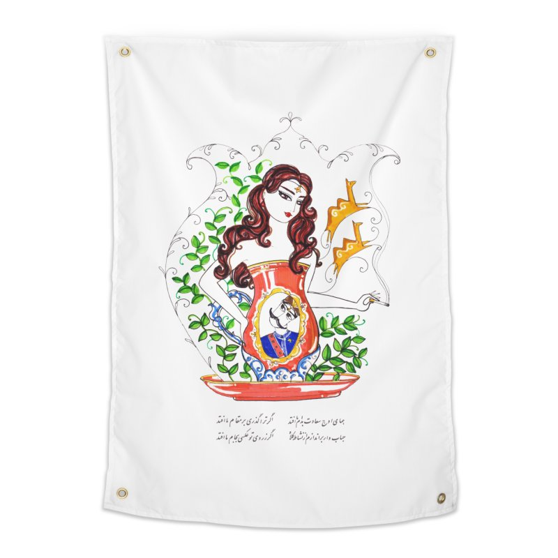contemporary oriental girl Home Tapestry by minoo.nadafian's Artist Shop
