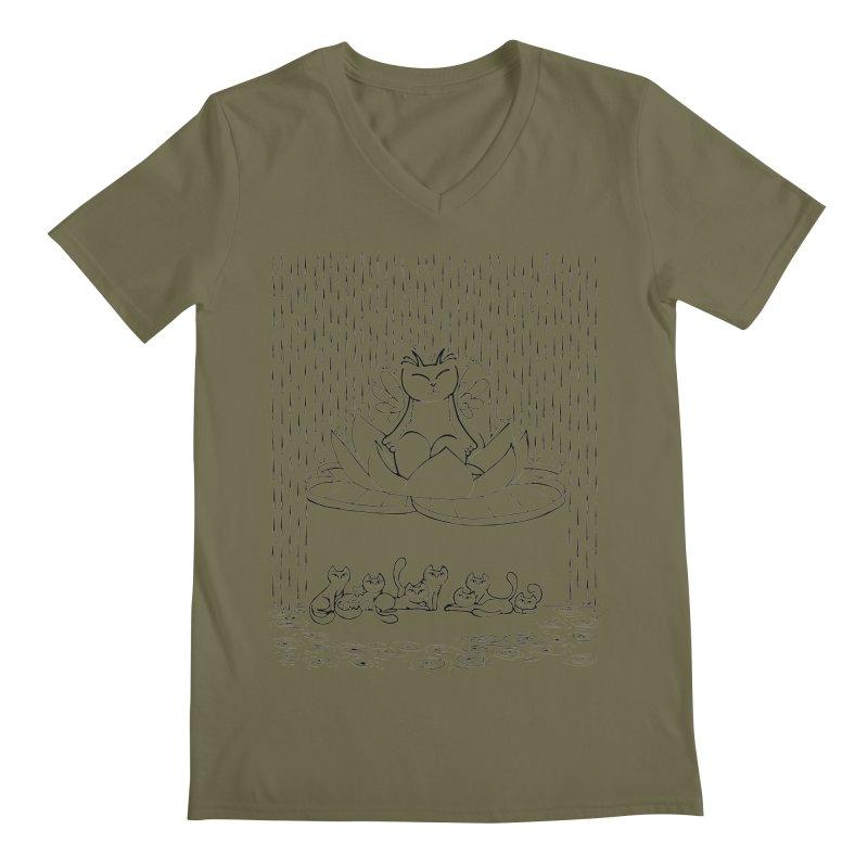 buddha-cat Men's V-Neck by minoo.nadafian's Artist Shop