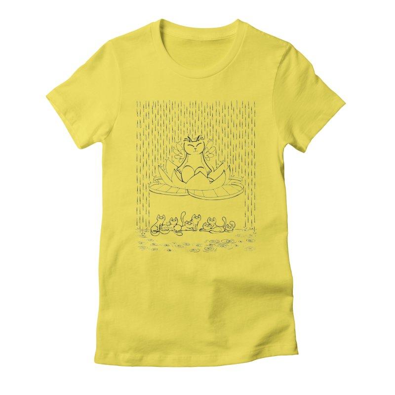 buddha-cat Women's Fitted T-Shirt by minoo.nadafian's Artist Shop
