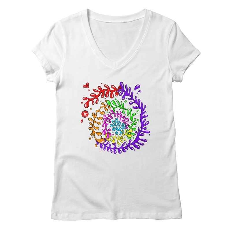 Peace, Love and Tie Dye Women's V-Neck by mintosaur's Artist Shop