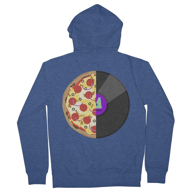 Pizza Record Men's French Terry Zip-Up Hoody by mintosaur's Artist Shop