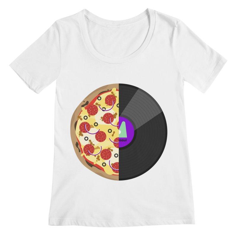 Pizza Record Women's Scoopneck by mintosaur's Artist Shop