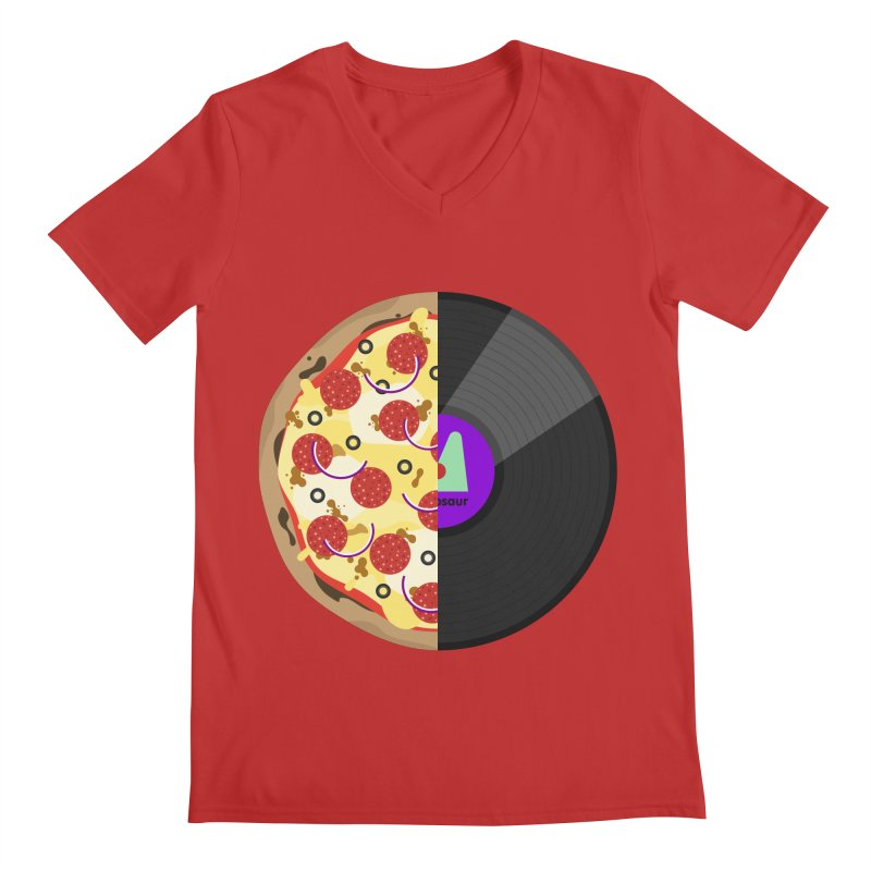 Pizza Record Men's V-Neck by mintosaur's Artist Shop