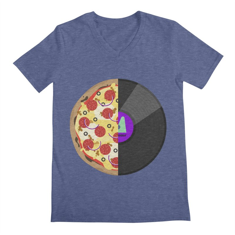 Pizza Record Men's Regular V-Neck by mintosaur's Artist Shop