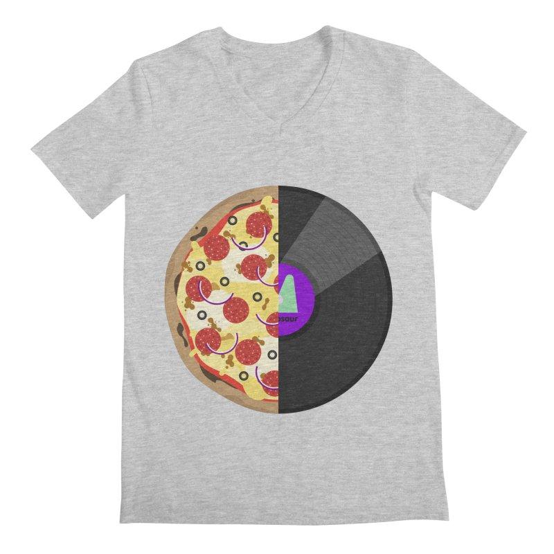 Pizza Record Men's Regular V-Neck by mintosaur's Artist Shop