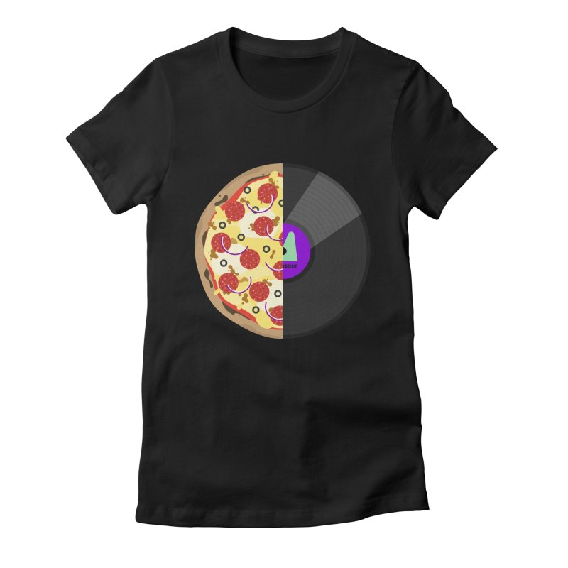 Pizza Record Women's Fitted T-Shirt by mintosaur's Artist Shop